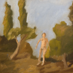 Circa 1962. Oil on canvas laid on board. Measures 19.5x20 inches